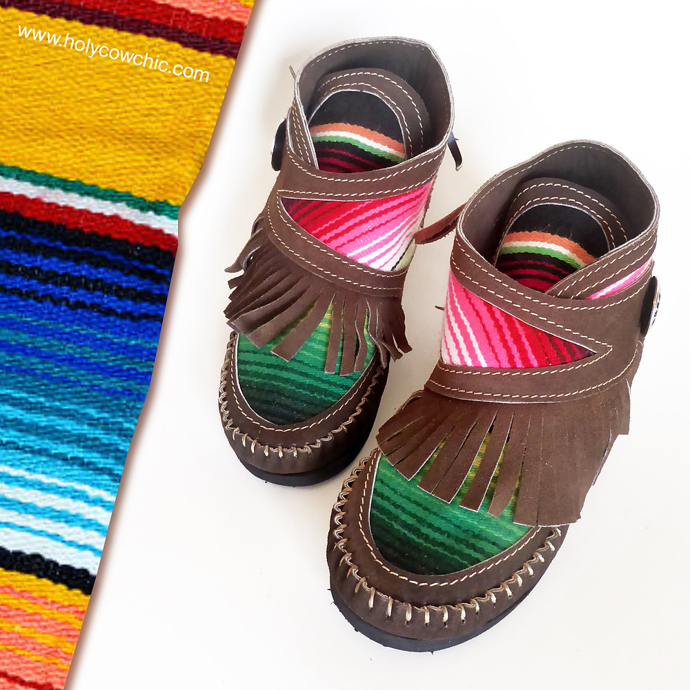 Unique Handmade Serape Leather Boots