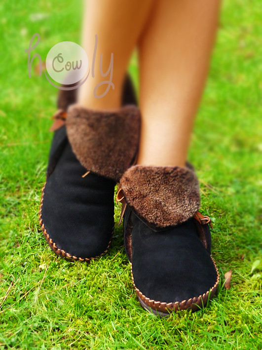 Handmade black and brown wooly boots