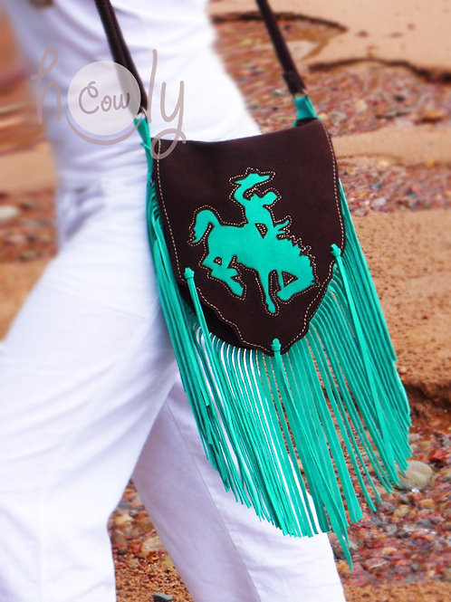 Brown & Turquoise Suede Bag