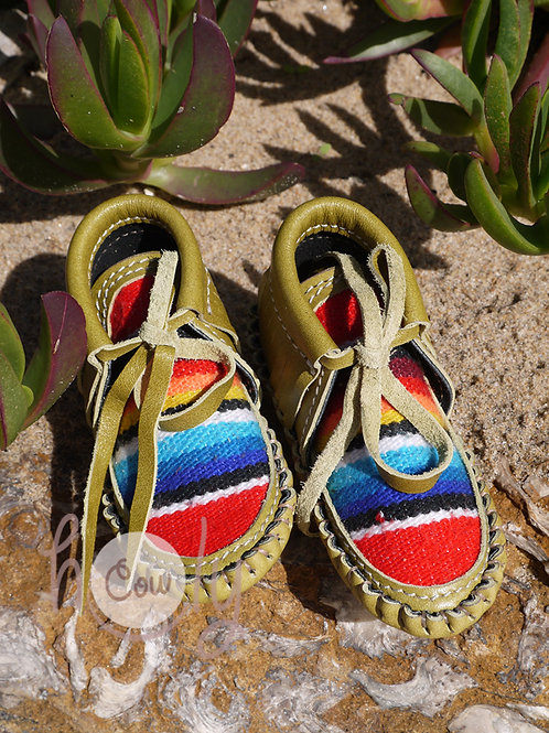 Olive Green Baby Serape Moccasins