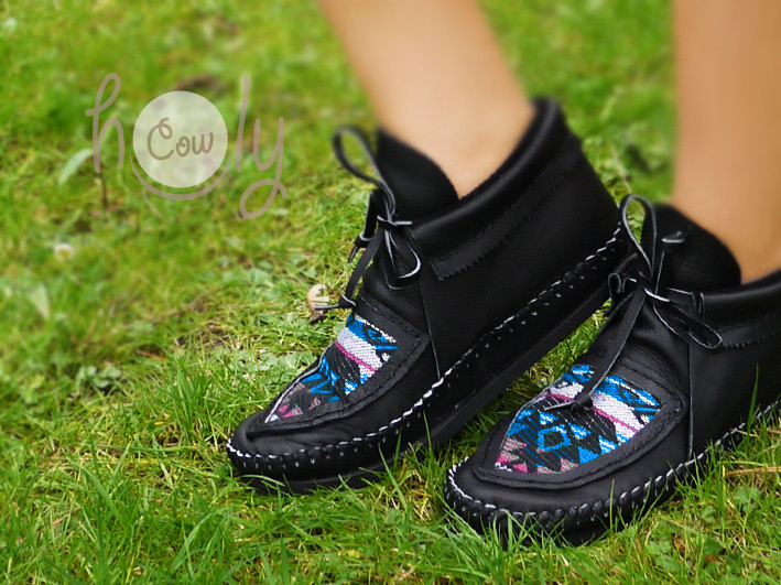 100% Hand Stitched Black Leather Moccasins With Native American Tribal Fabric