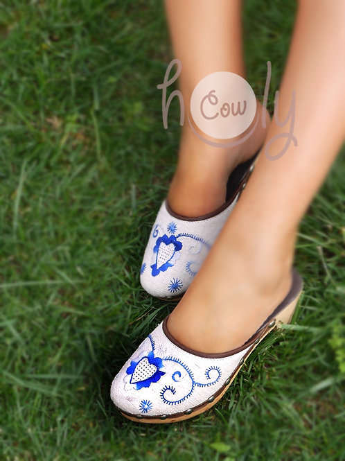 Hand Embroidered Vegan Clogs