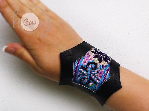 Black Leather Tribal Bracelet