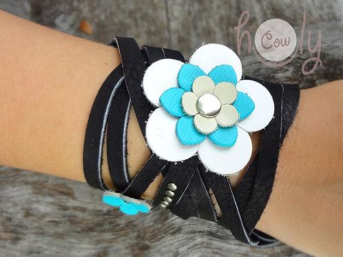 "Leather ""Flower Power"" Bracelet"