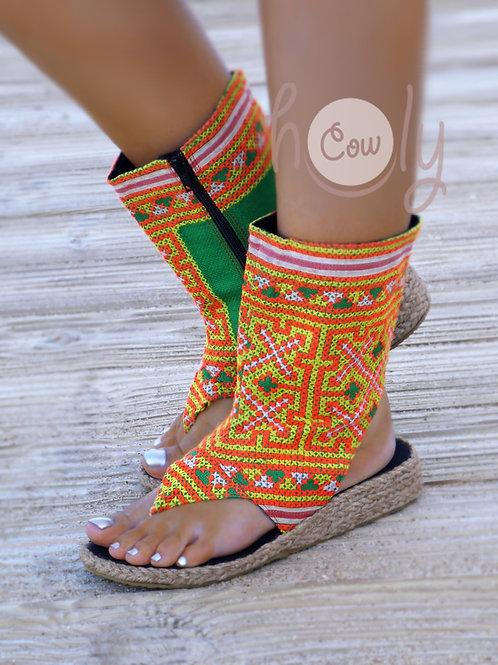 Orange And Green Tribal Vegan Sandals