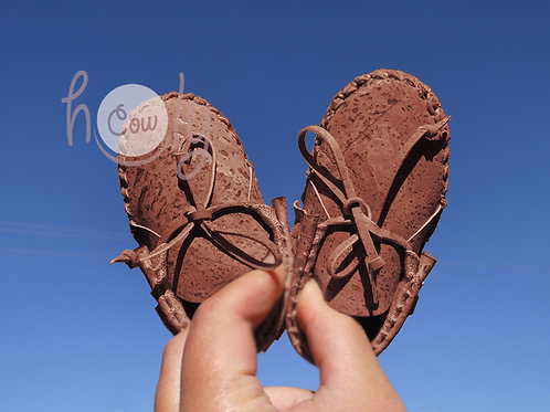 Dark Brown Vegan Cork Baby Moccasins