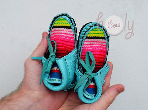 Turquoise Baby Cowboy Moccasins