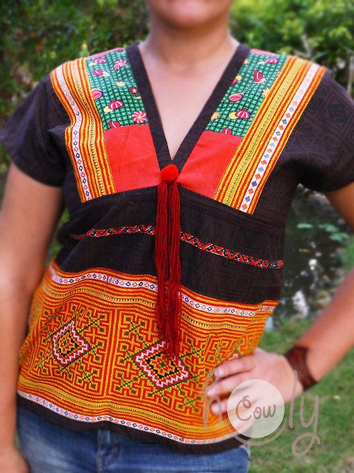 Tribal Brown Hmong Cotton Shirt