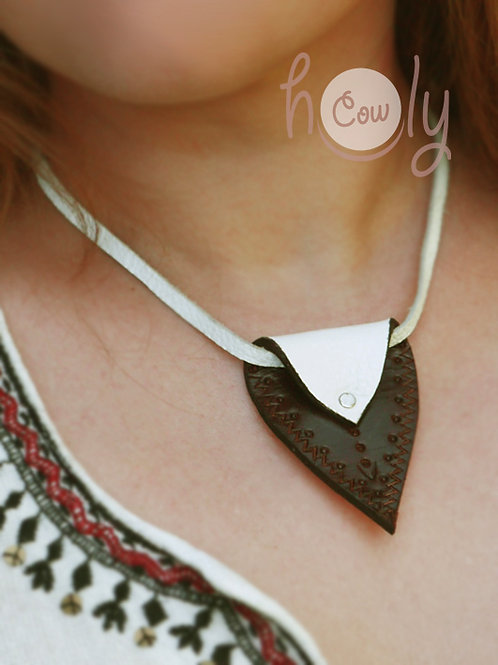 Brown And White Leather Necklace