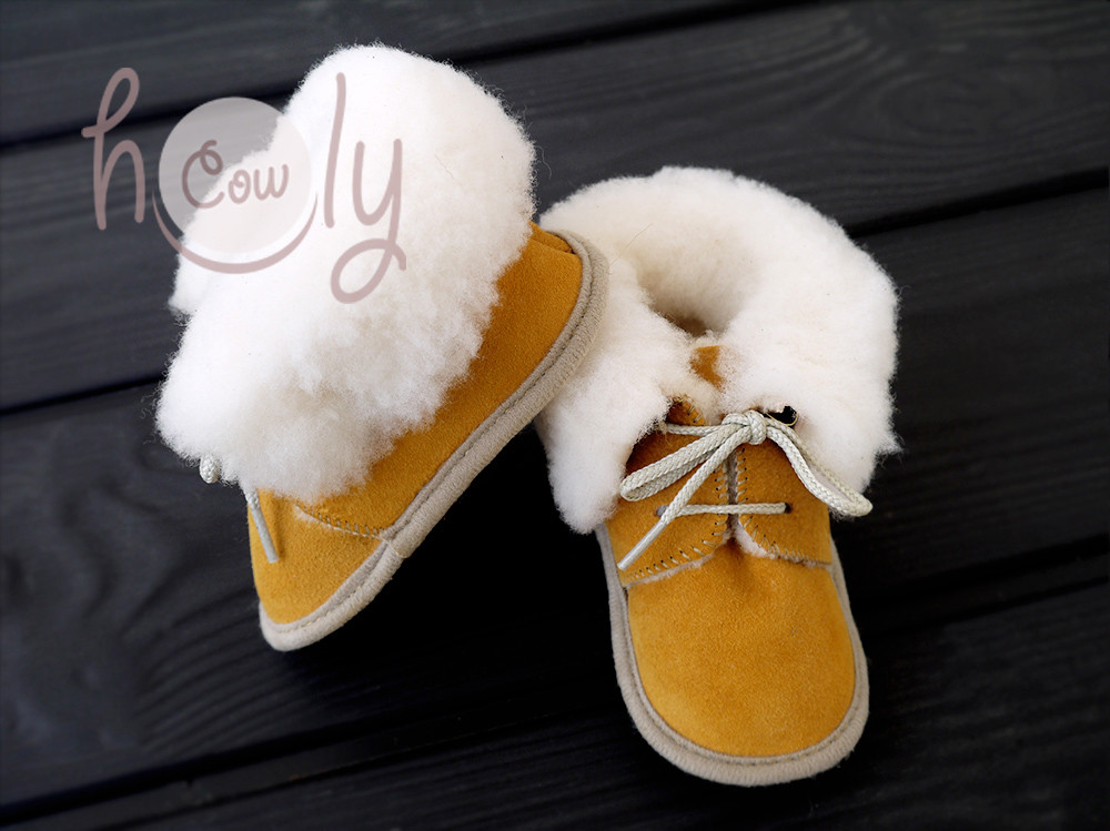 New Handmade Sheepskin Yellow Mustard Baby Boots