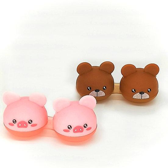 Blushing Pig & Bear Contact Case Set