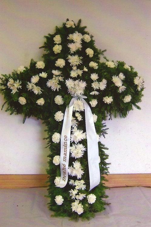 Kříž velký karafiáty a chryzantémy