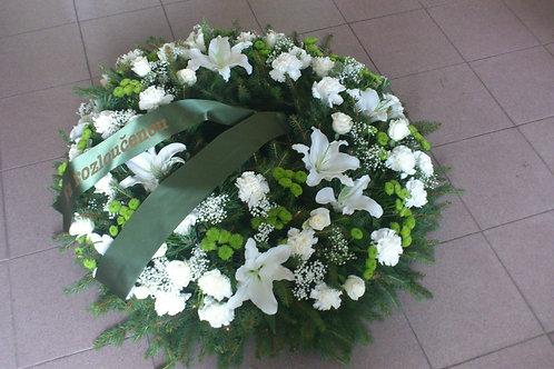 Věnec růže, karafiáty, lilie (č.34)