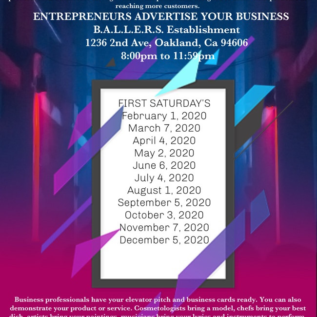 First Saturday's : Entrepreneurs Advertise Your Business