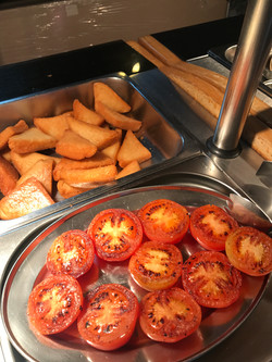 Fresh tomatoes and Fried Bread