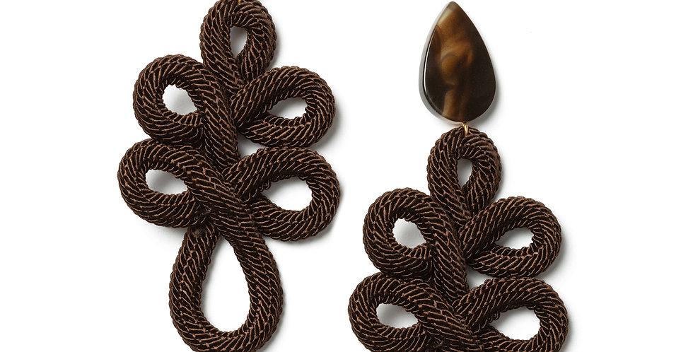 Lace earrings brown