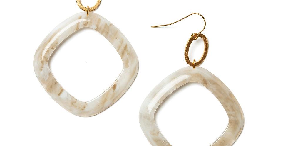 Chenille earrings beige
