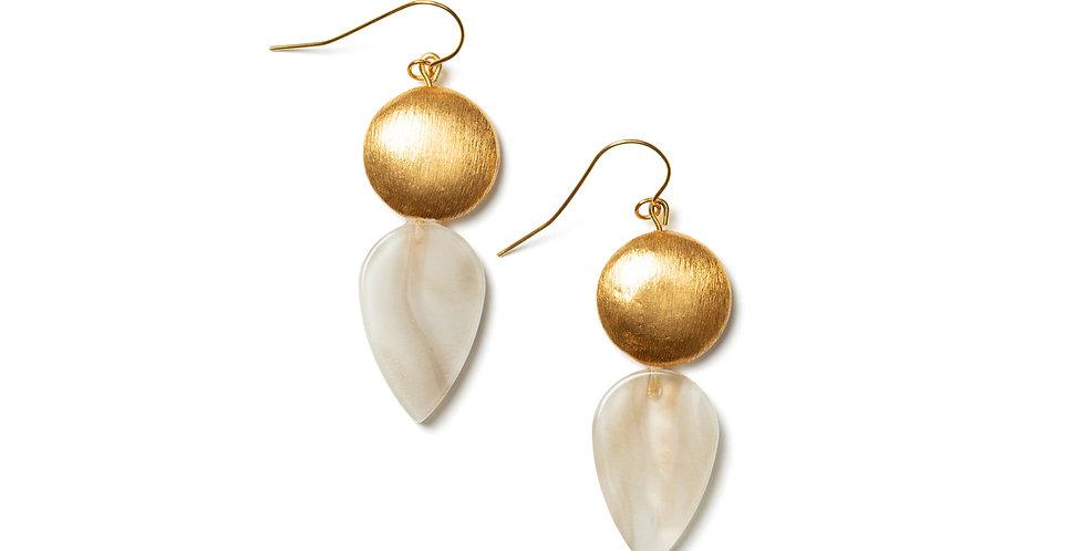 Clay earrings beige