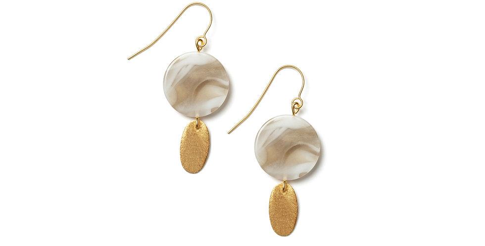 Copper earrings beige