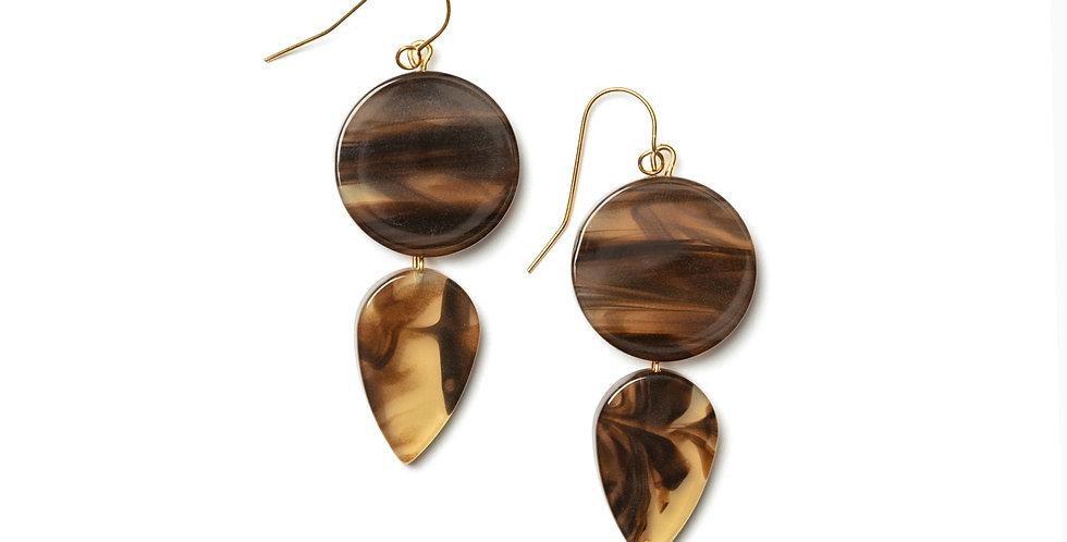 Amber earrings brown
