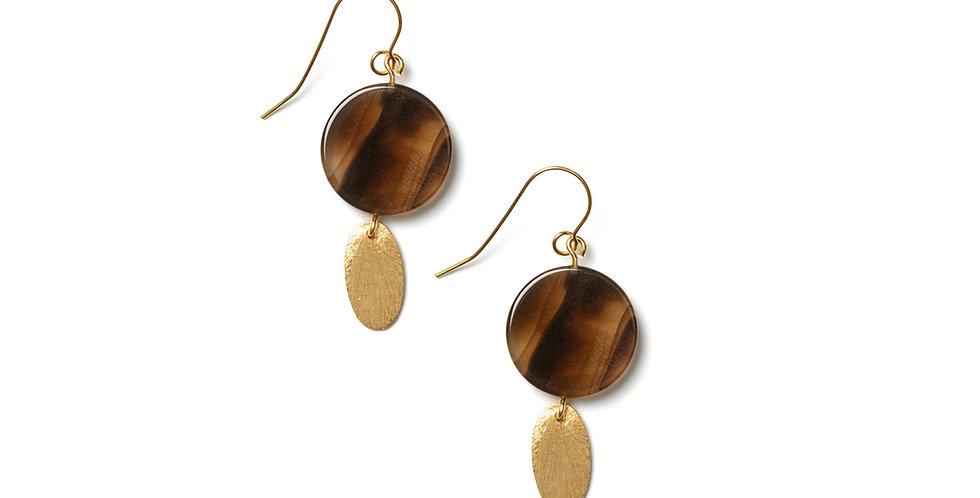 Copper earrings brown