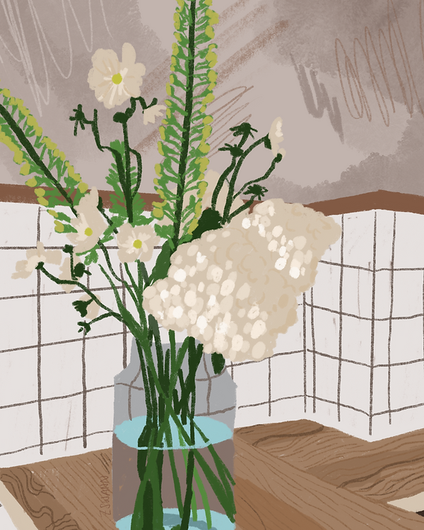 Illustration of a still life with a checked wall background and a vase of flowers