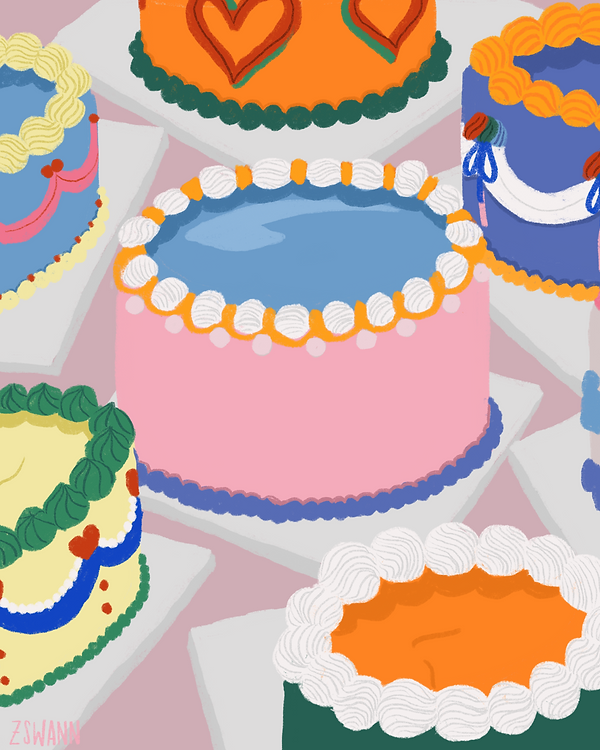 Illustration of a still life with colourful iced cakes