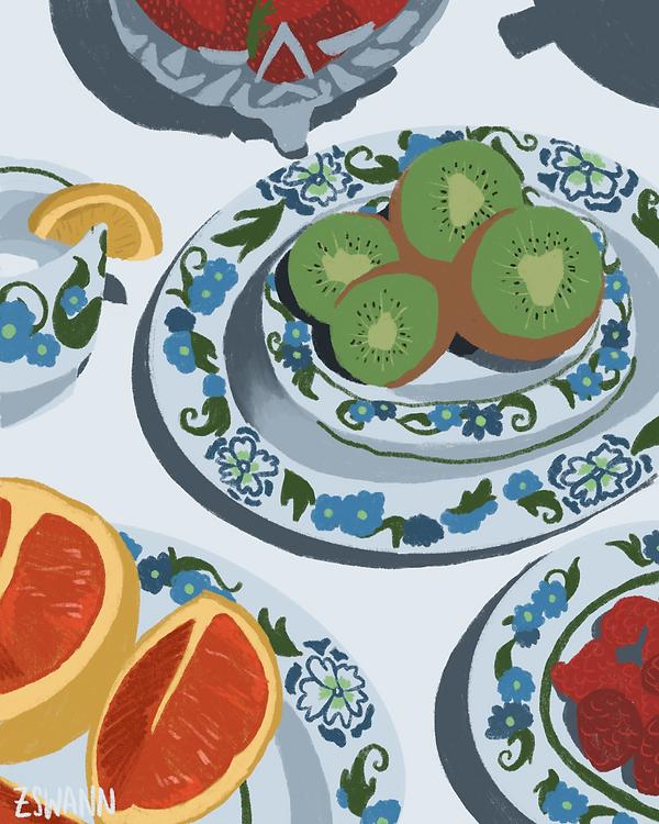Illustration of a still life with kiwi fruit, china plates and grapefruit