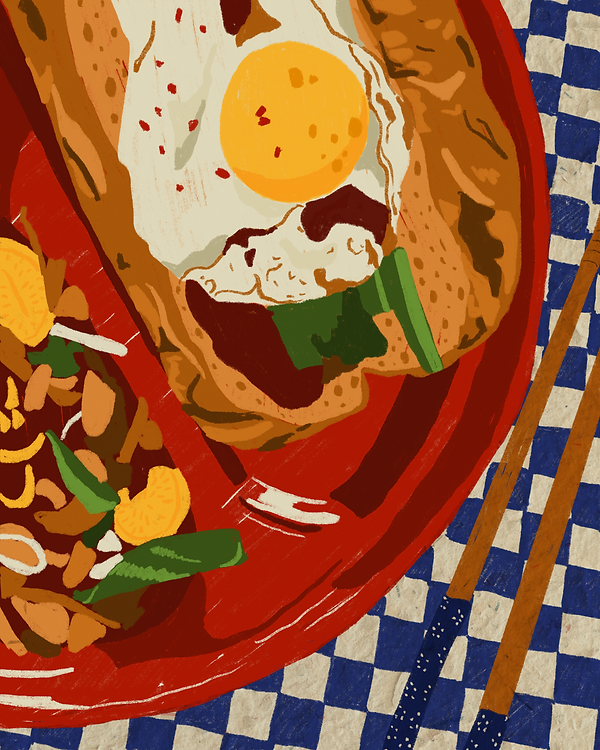Illustration of a plate with an egg sandwich and chopsticks