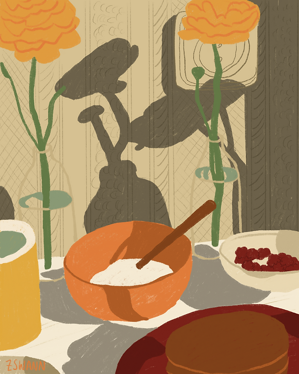 Illustration of a still life with vases of flowers, a bowl and pancakes