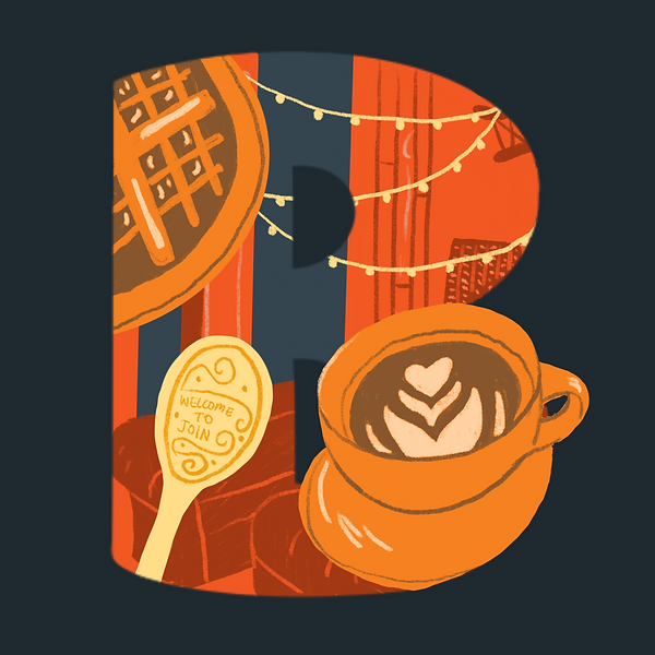 Letter B with illustrated coffee shop elements