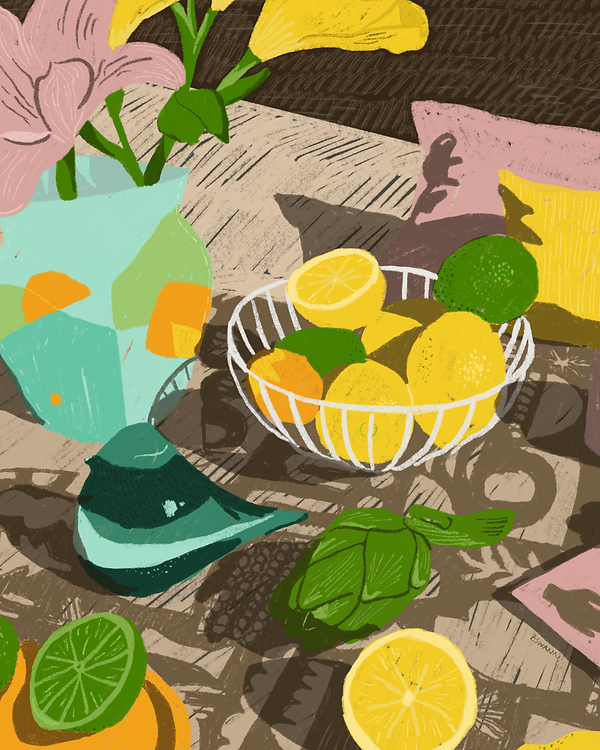 Illustration of a still life with lemons, limes and flowers in a vase