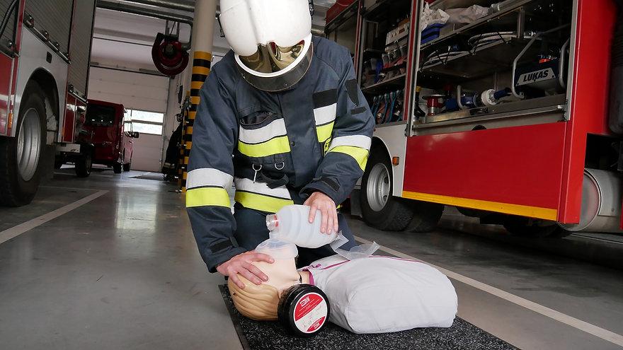 firefighter using Micro BVM's emergency equipment