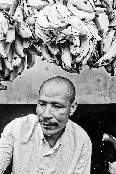 Zanzibar Stone Town Market Citizen Man black and white