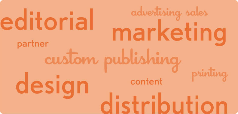 editorial, design, marketing, advertising sales, publishing, content, distributin, logos