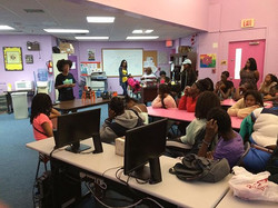 3 pictures of me speaking at Girl Power in Overtown with CodeFever!
