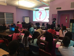 3 Pictures of me speaking at Girl Power in Overtown with CodeFever