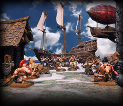 Dwarves by Avatars of War, Pirates by Firelock Games, Pirate Ship and Airship by Printable Scenery,