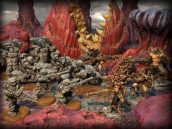 Puppetswar (left) and Wargame Exclusive (right) Devourer Terrain by Micro Art Studio