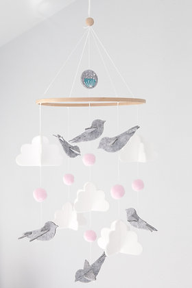 Crib Mobile - Bird Pink