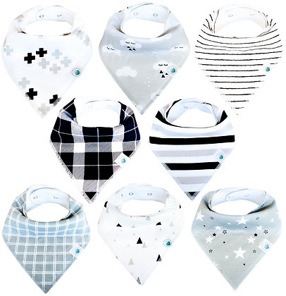 Bandana Bib Set of 8 - Classic