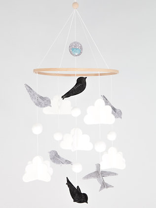 Crib Mobile - Bird Grey
