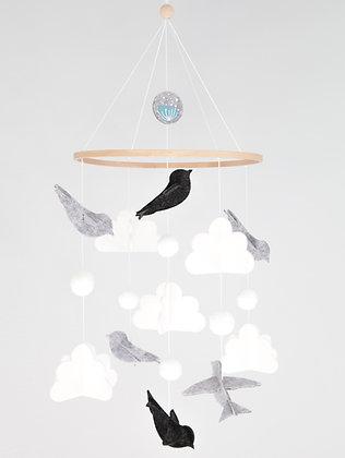 Crib Mobile - Bird Grey