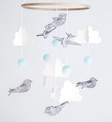 Crib Mobile - Bird Blue