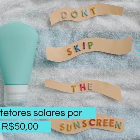 Protetores solares por até R$50,00