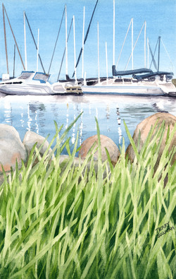 Bayfield Harbor Watercolor Painting