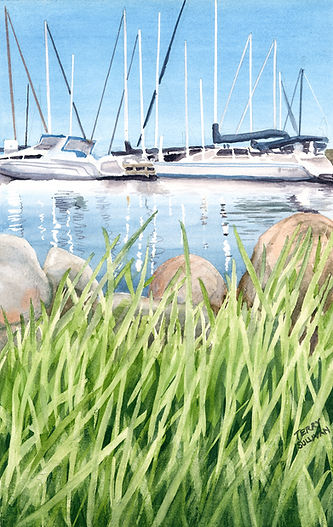 Sunny Bayfield Wisconsin boats painting prints