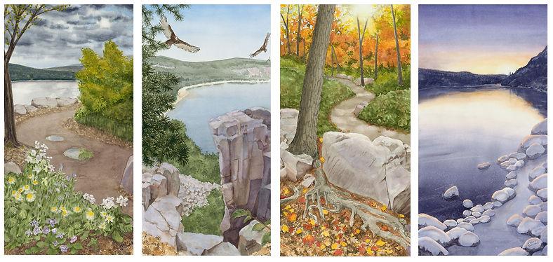 Spring summer fall winter at Devils Lake Wisconsin watercolor