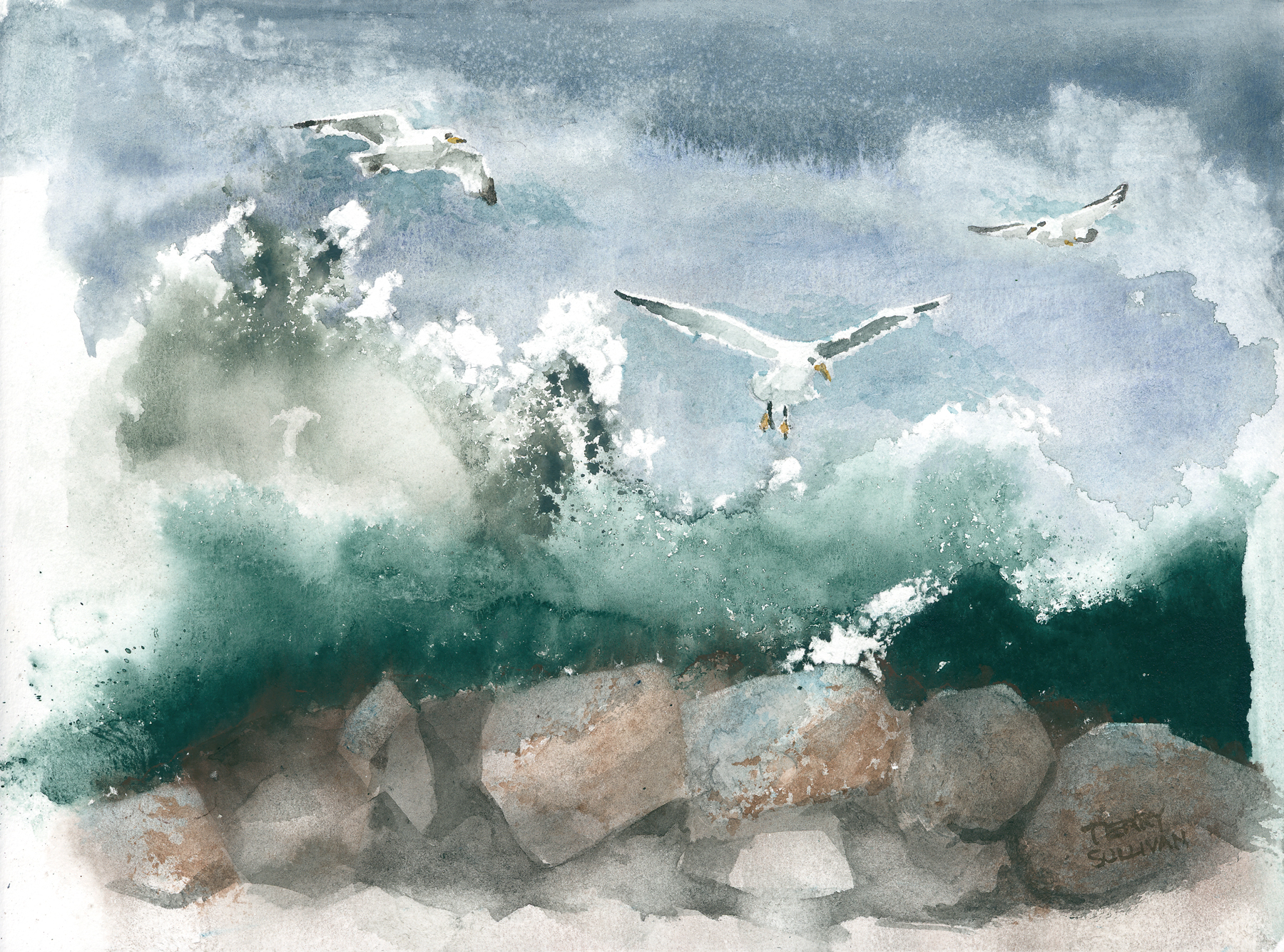 Gulls Over the Surf Watercolor