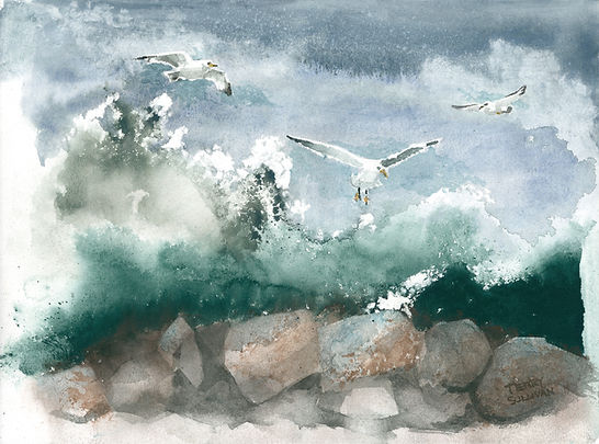Crashing waves Loose watercolor painting gulls stormy waves over rocks